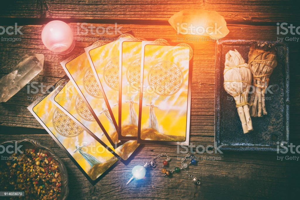 Tarot cards on a board stock photo