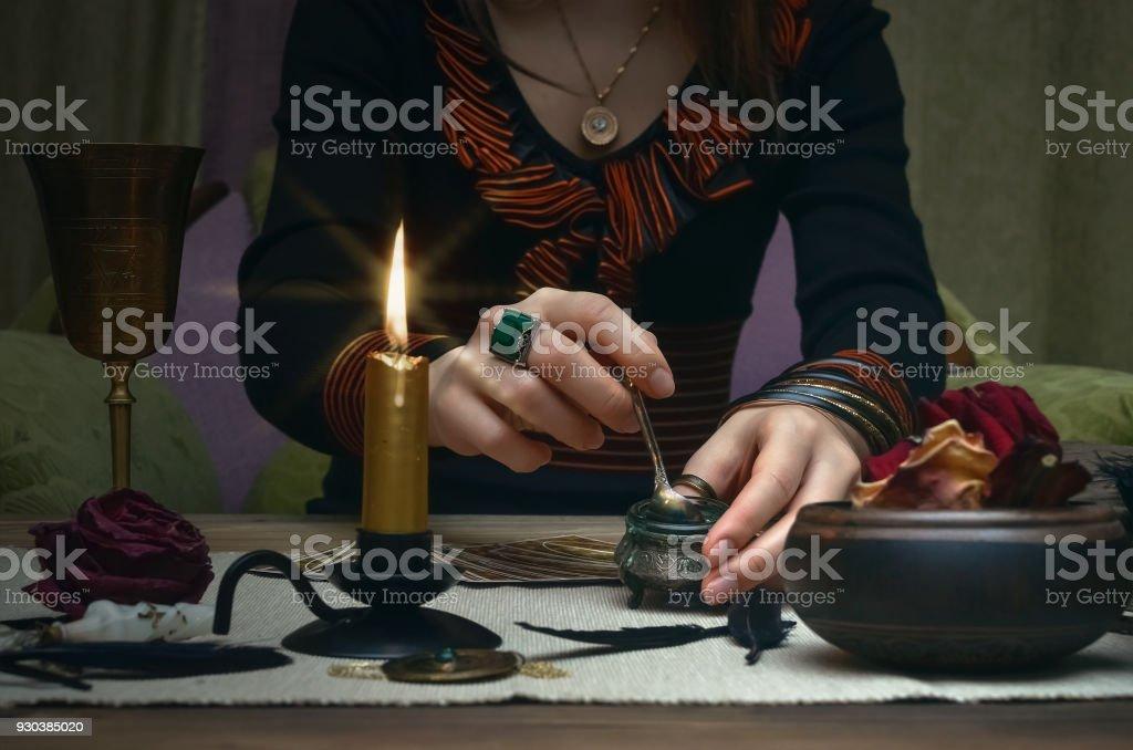 Tarot Cards On Fortune Teller Desk Table Future Reading
