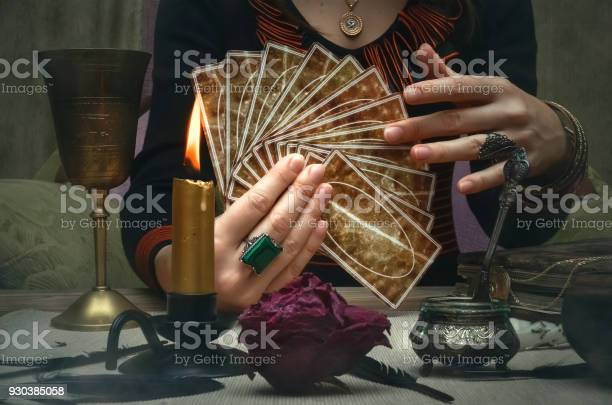 Tarot cards on fortune teller desk table future reading concept picture id930385058?b=1&k=6&m=930385058&s=612x612&h=2vygpzsplmhdoer7pwppgvj1kvxleoet9m5i3 lxcbw=