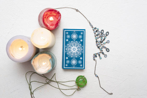Tarot cards. Tarot cards over white table background. arcane stock pictures, royalty-free photos & images