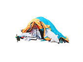 Tarp homeless tent isolated on white background. Refugees. Hut made of canvas banner. Poverty, trash