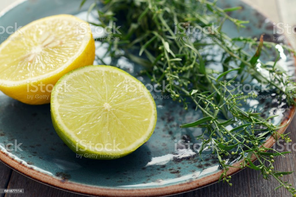 Tarragon with lemon and lime stock photo