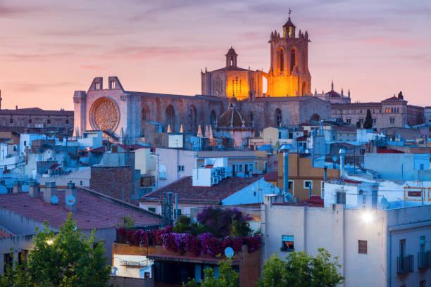 Tarragona Cathedral of Santa Maria at sunset stock photo