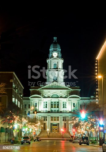 Front view of Tarrant County Courthouse in Forth Worth, Texas at night