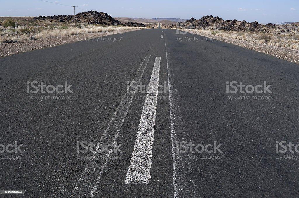 Tarred road in Namibia stock photo