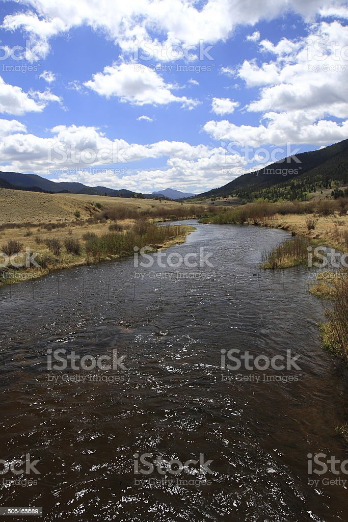 Tarryall Creek below Tarryall Reservoir in South Park, Colorado stock photo