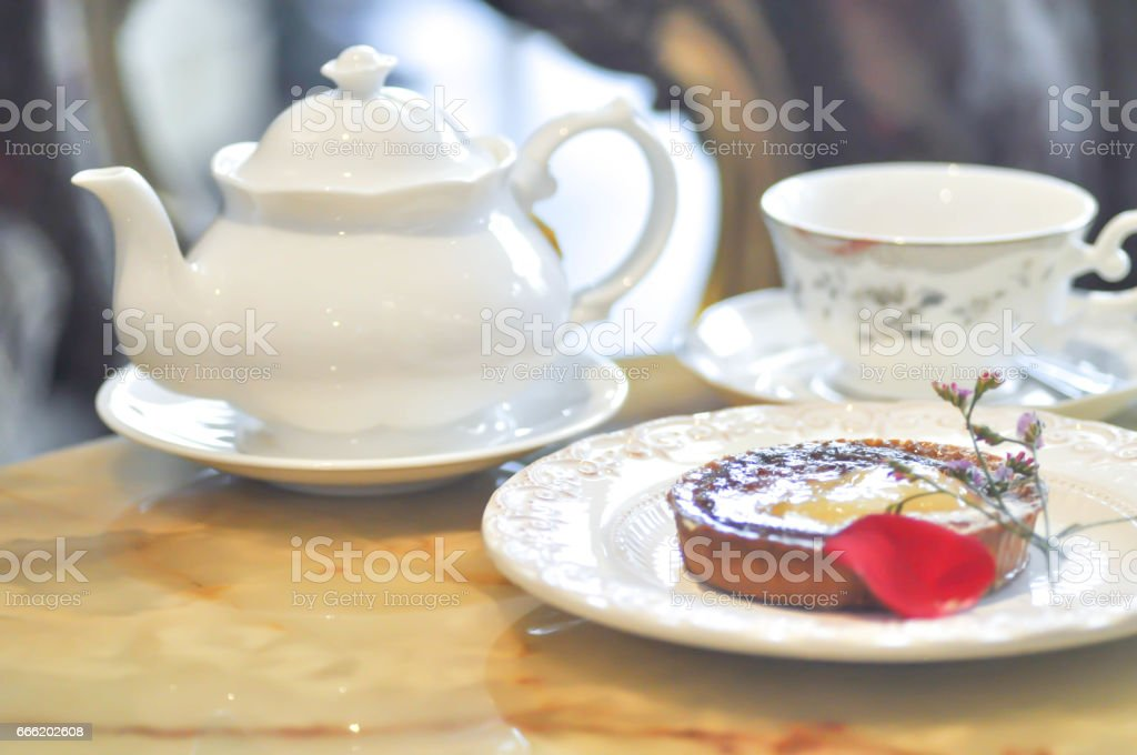 tart ,tea cup and tea pot stock photo