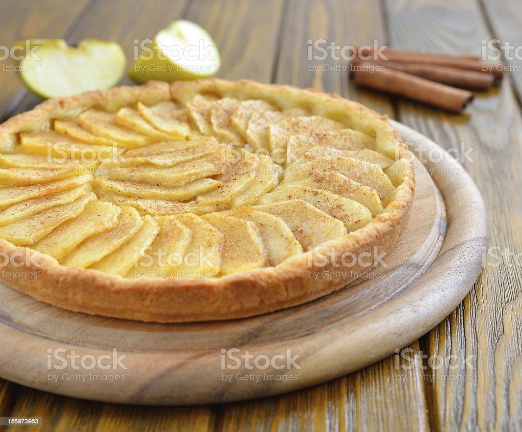 Tart with apples and cinnamon stock photo
