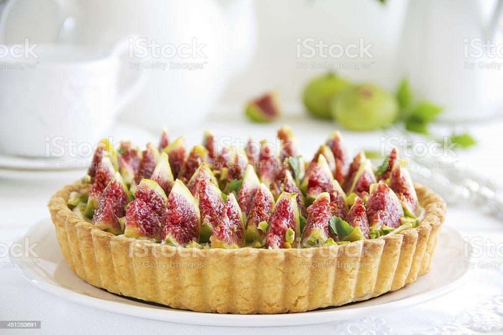 Tart with figs and mascarpone cream. stock photo