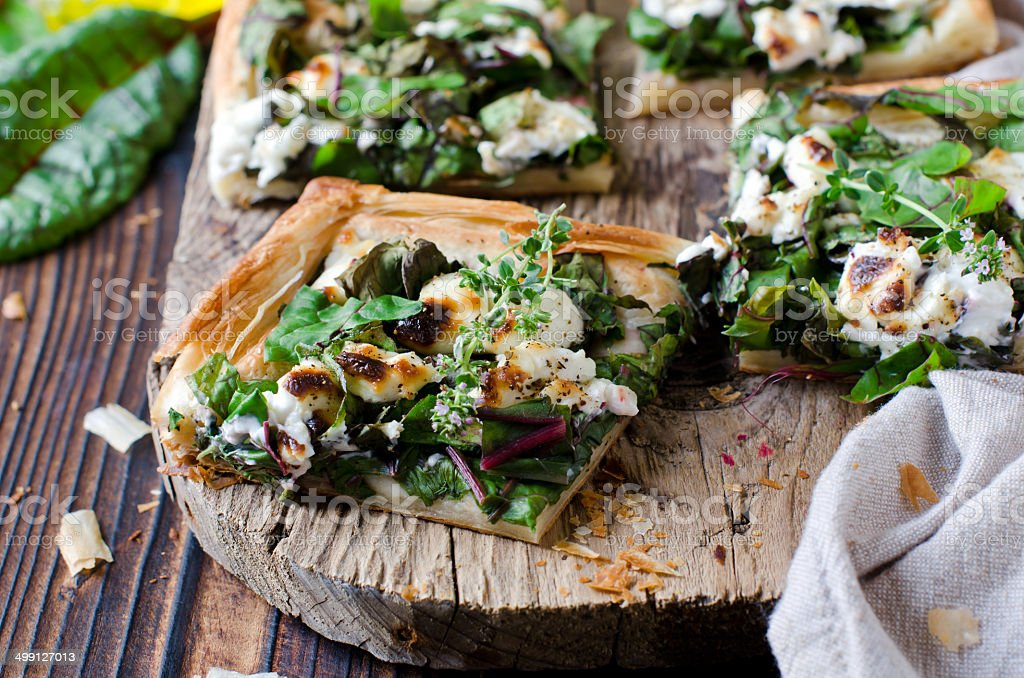 Tart with spinach, chard and cheese stock photo
