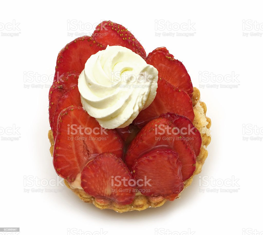 tart with strawberry on white background royalty-free stock photo