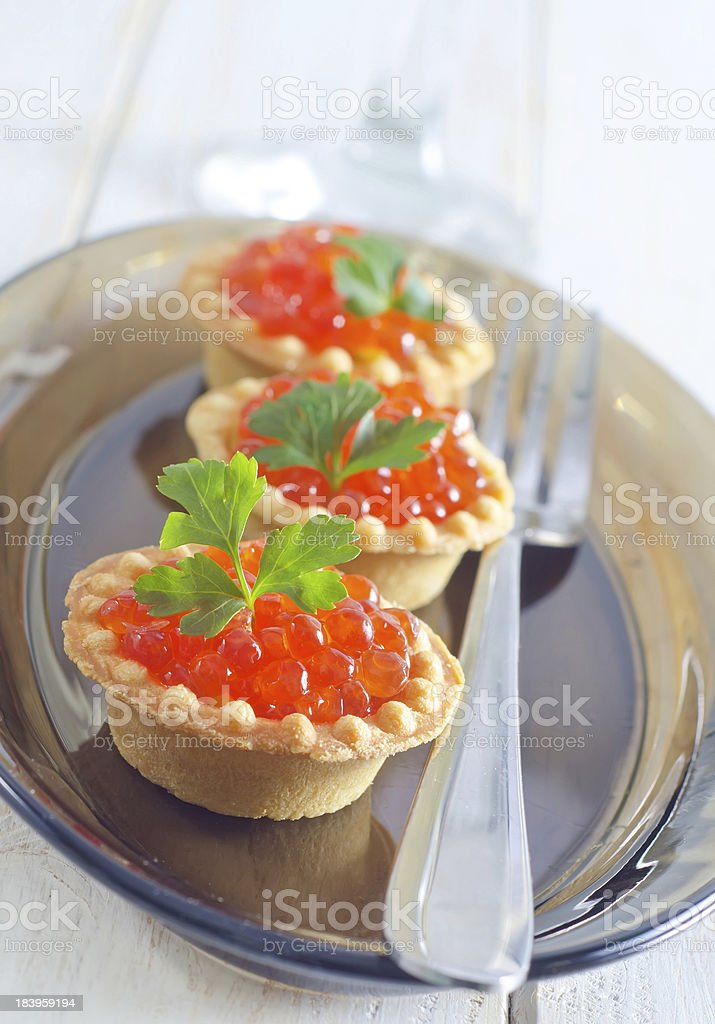 tartalets with caviar royalty-free stock photo