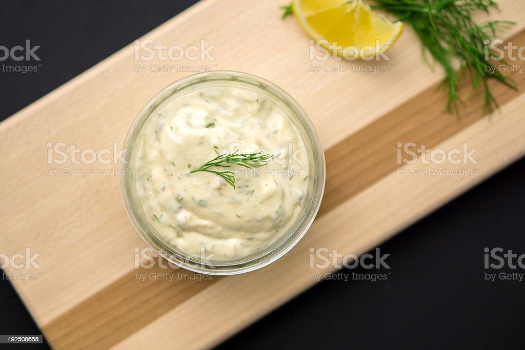 Tartar sauce from above stock photo