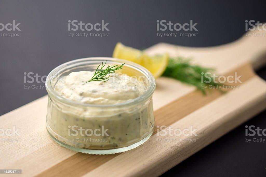 Tartare sauce dip stock photo