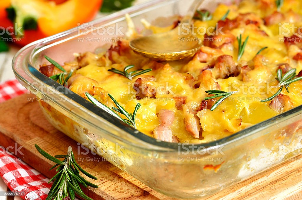 Tartiflette-casserole from potato,cheese,onion and bacon. stock photo