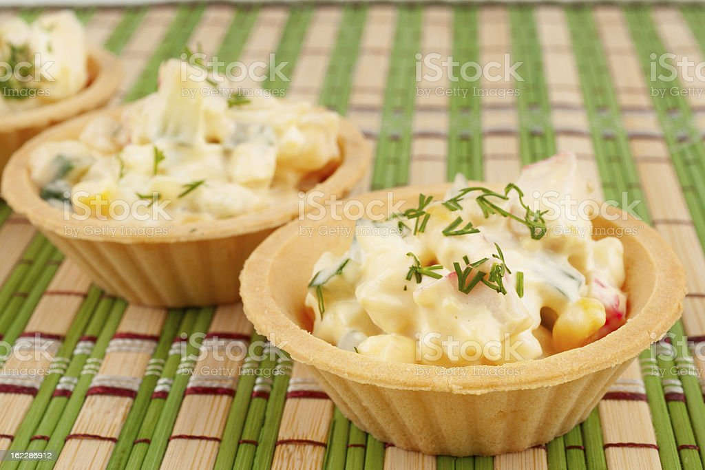 Tartlets with crab salad royalty-free stock photo
