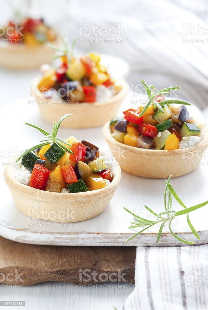 Tartlets with vegetables royalty-free stock photo