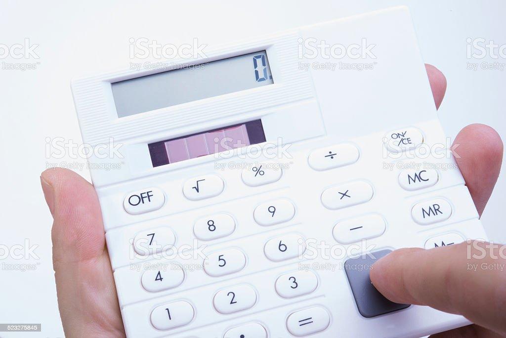 Taschenrechner Hand stock photo