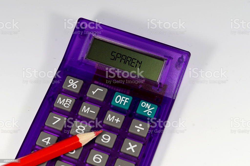 Taschenrechner Rotstift stock photo