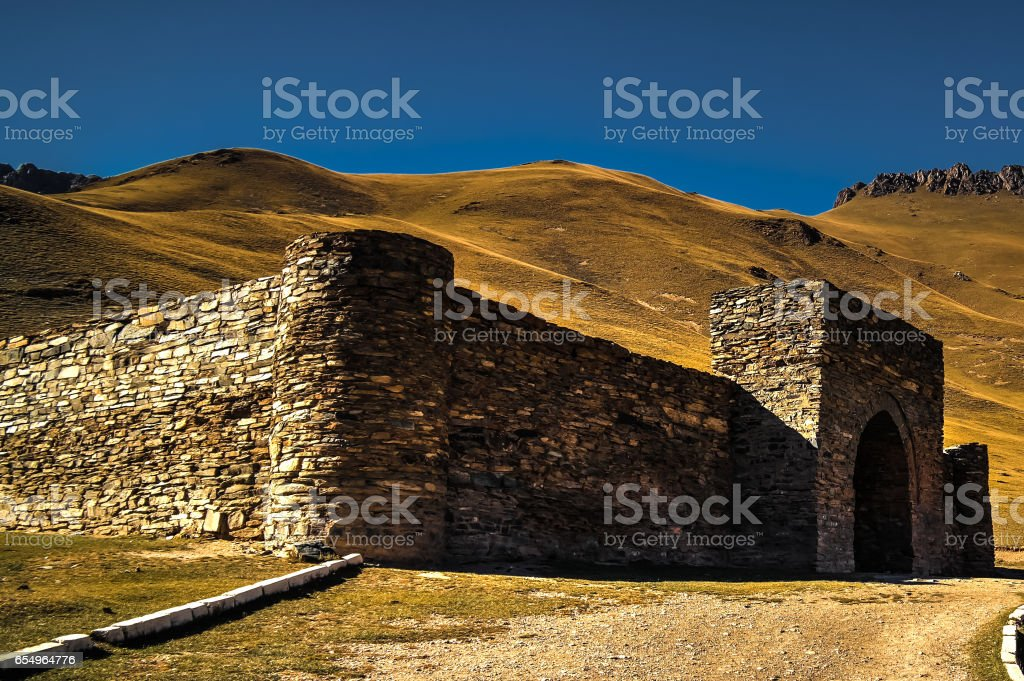 Tash Rabat caravanserai in Tian Shan mountain in Naryn province Kyrgyzstan stock photo