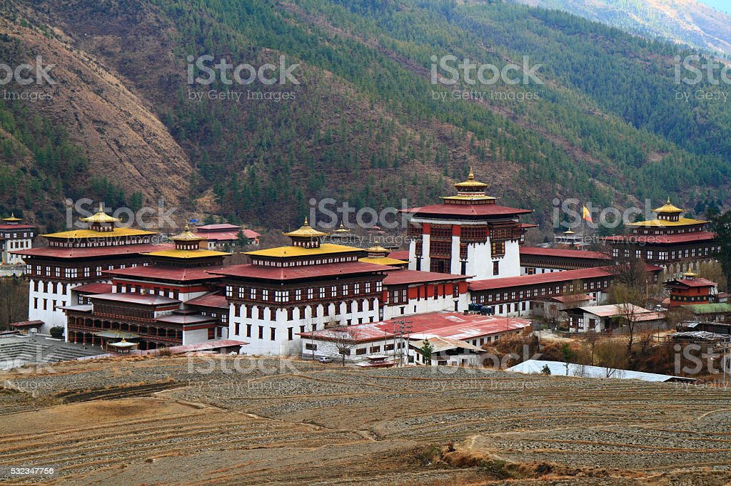 Tashichho Dzong in Thimphu stock photo