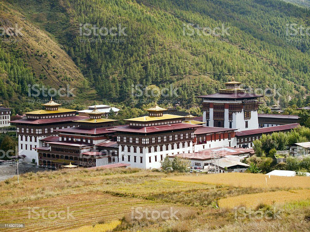 Tashichhoedzong in the city of Thimpu, Bhutan stock photo