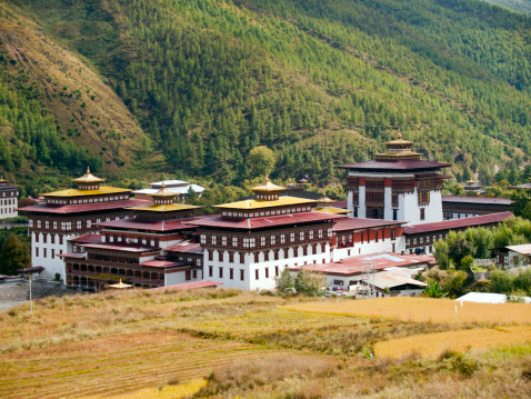 Tashichhoedzong In The City Of Thimpu Bhutan Stock Photo - Download Image Now