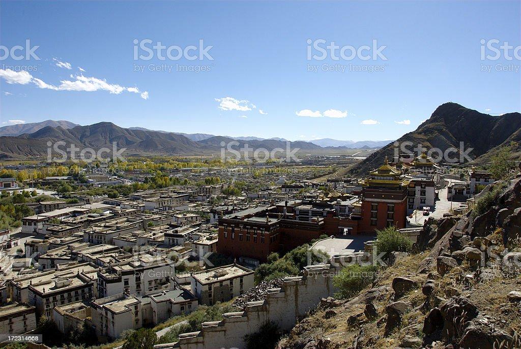 Tashilunpo monastery from the outer kora (Shigatze, Tibet) stock photo
