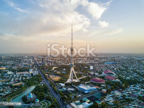 istock Tashkent TV Tower Aerial Shot During Sunset in Uzbekistan 1034587098
