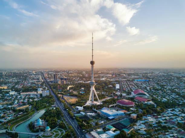 Tashkent TV Tower Aerial Shot During Sunset in Uzbekistan stock photo