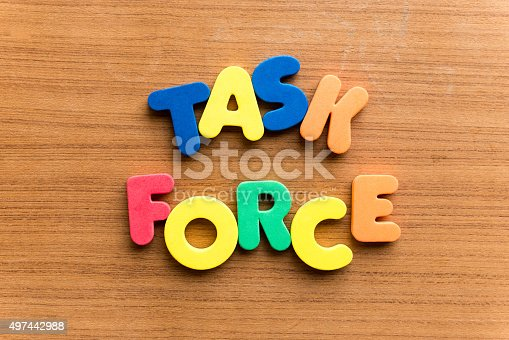 task force  colorful word on the wooden background