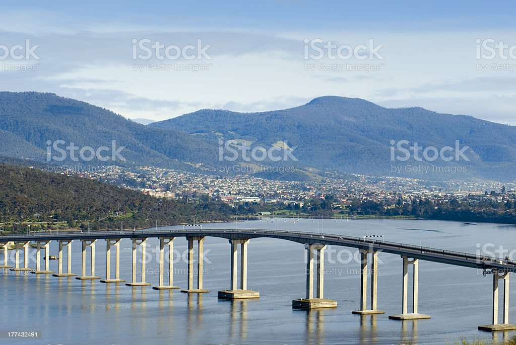 Tasman Bridge Derwent River stock photo