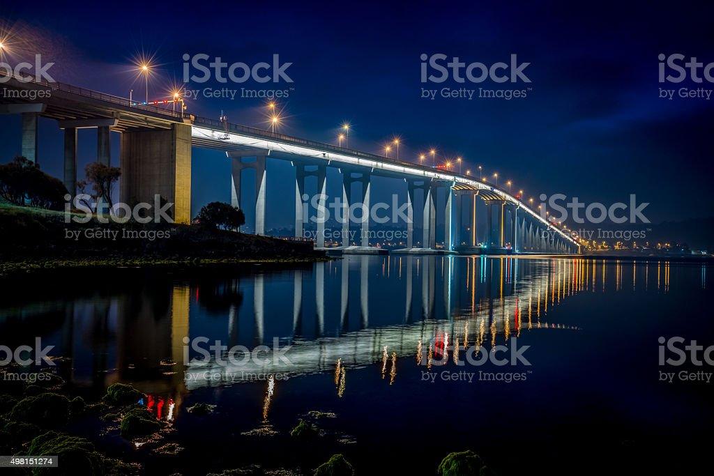 Tasman Bridge Hobart at Night Tasmania Australia stock photo