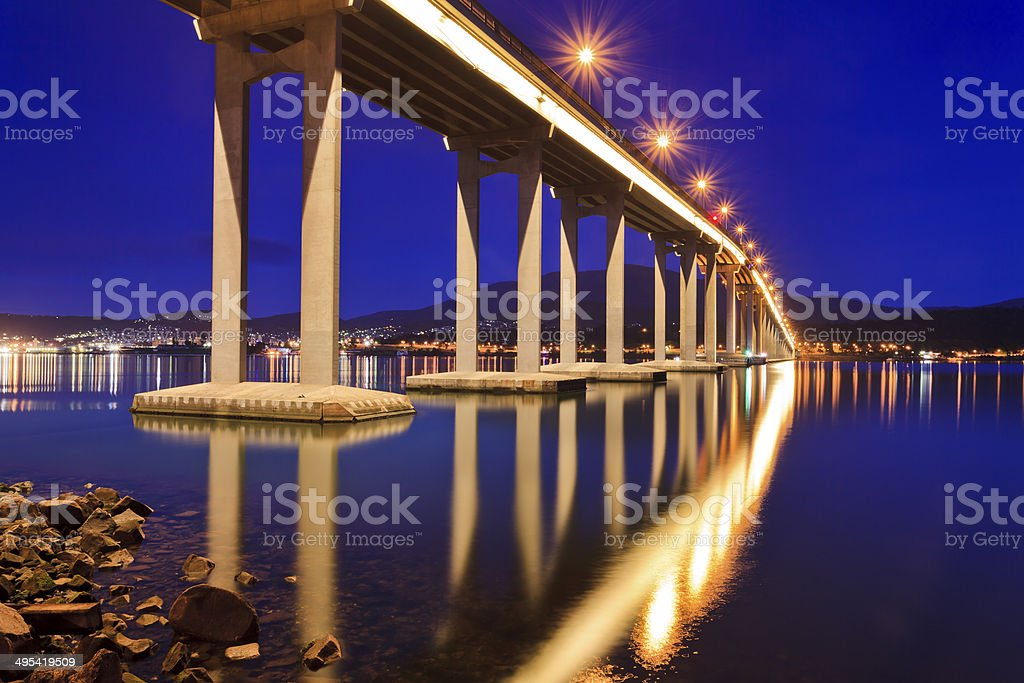 Tasman Bridge Side Close Sunrise stock photo