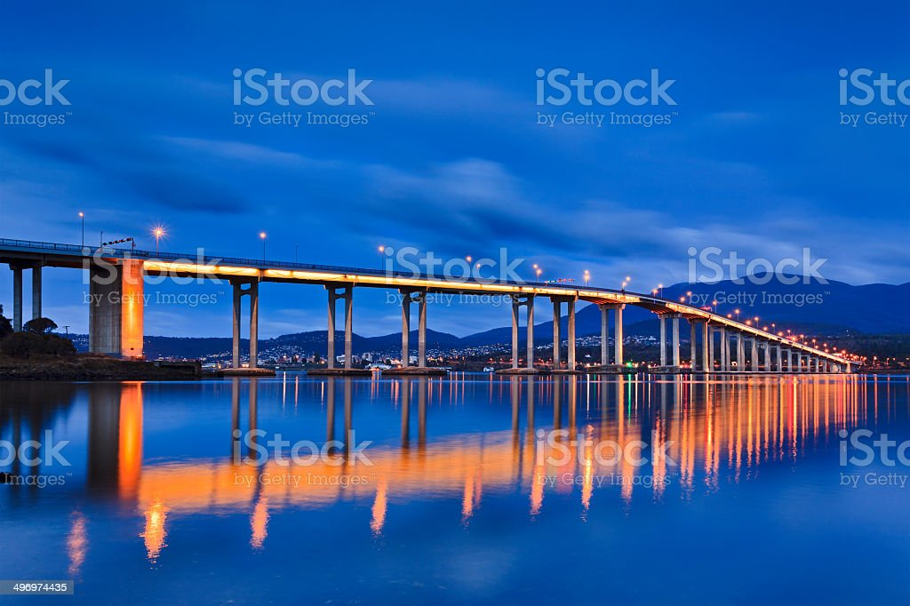 Tasman Bridge Side Sunrise wide stock photo