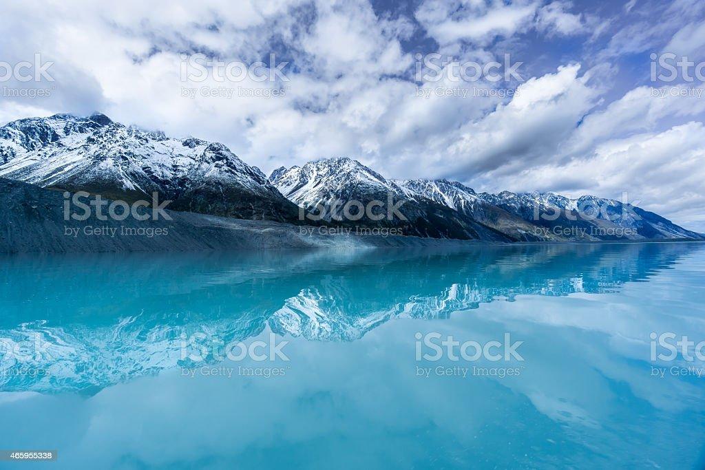 Tasman Glacier Aoraki Mount Cook National Park stock photo