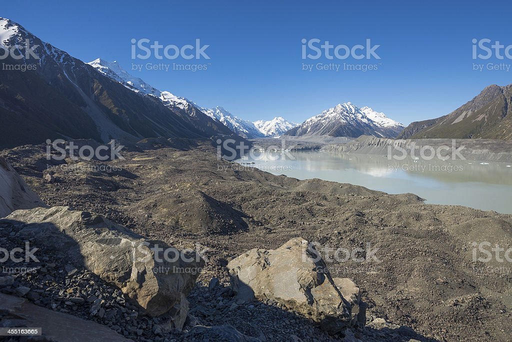 Tasman Glacier, Mt. Cook national park stock photo