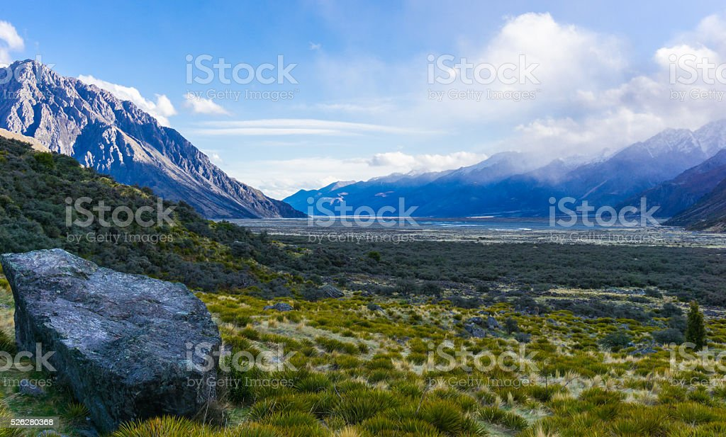 Tasman Glacier Valley stock photo