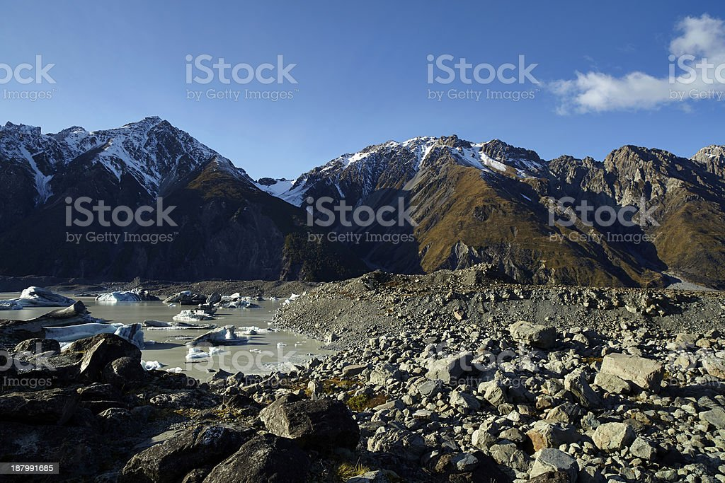 Tasman Lake And The Mt Cook National Park royalty-free stock photo