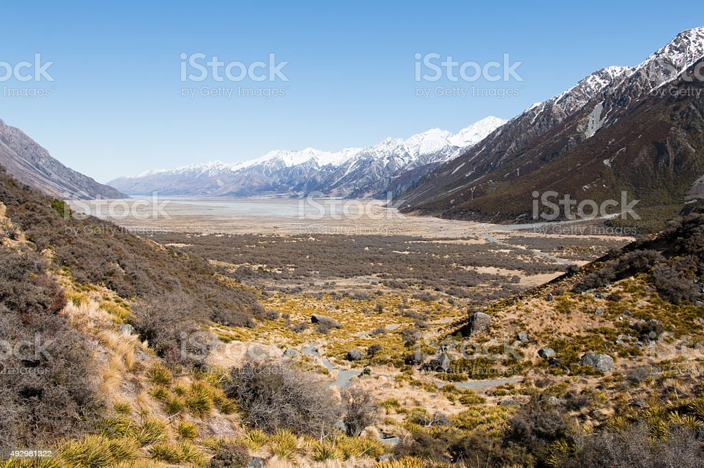 Tasman River valley. Mt Cook National Park stock photo