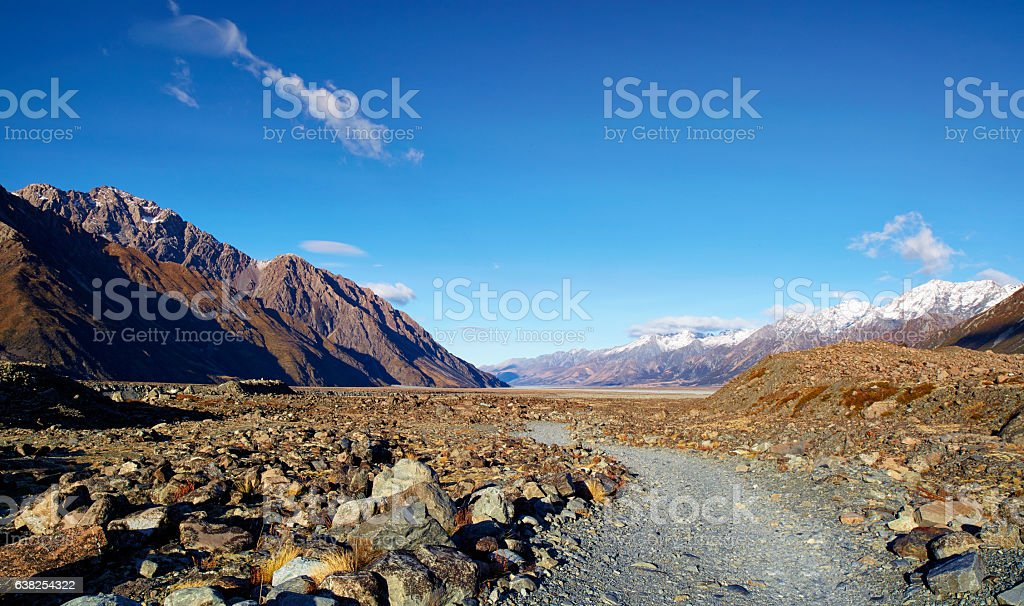 Tasman Valley In The Mt Cook National Park stock photo