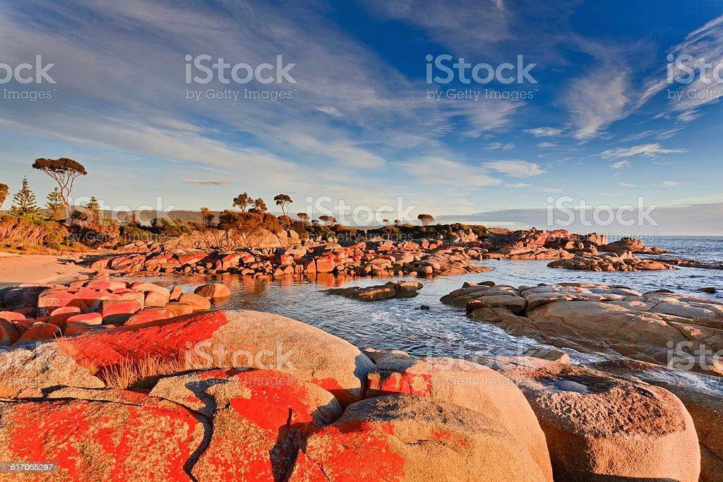 Tasmania Bay of Fires Red Rocks stock photo
