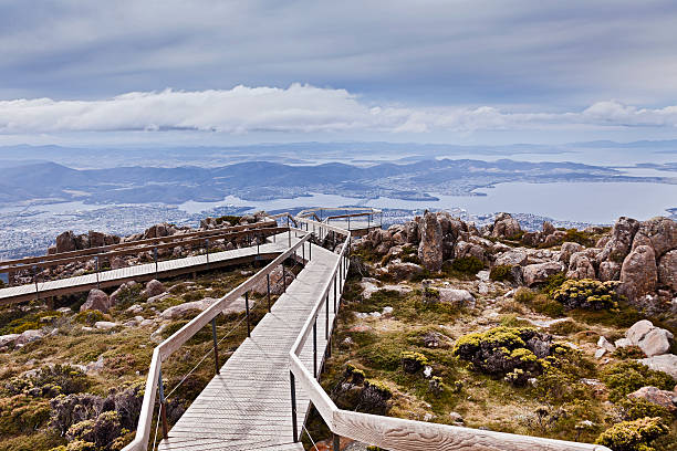 Tasmania Horbart Mt Wellington Lookout stock photo