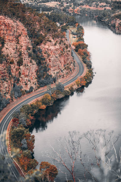 tasmania landscape from top view during autumn - cradle mountain stock photos and pictures