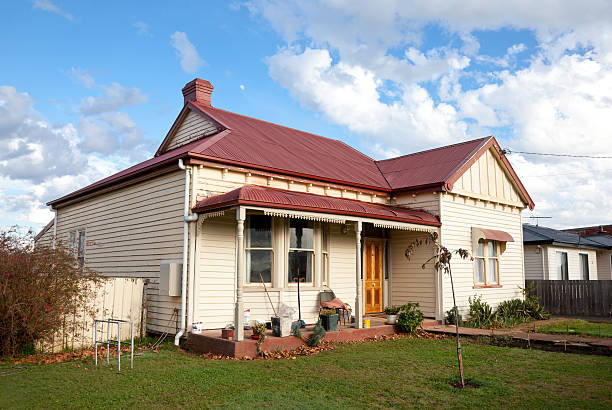 """Tasmanian Cottage """"Quaint small old cottage in Tasmania, Australia. A little run down with work in progress.Click to see more..."""" run down stock pictures, royalty-free photos & images"""