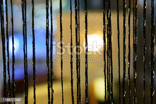 Tassel trim. Fabric curtain tassels. Door Curtain with hangings