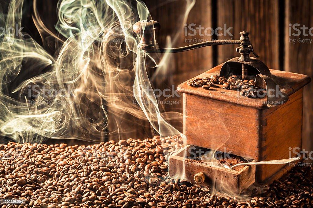 Taste of roasted coffee seeds stock photo