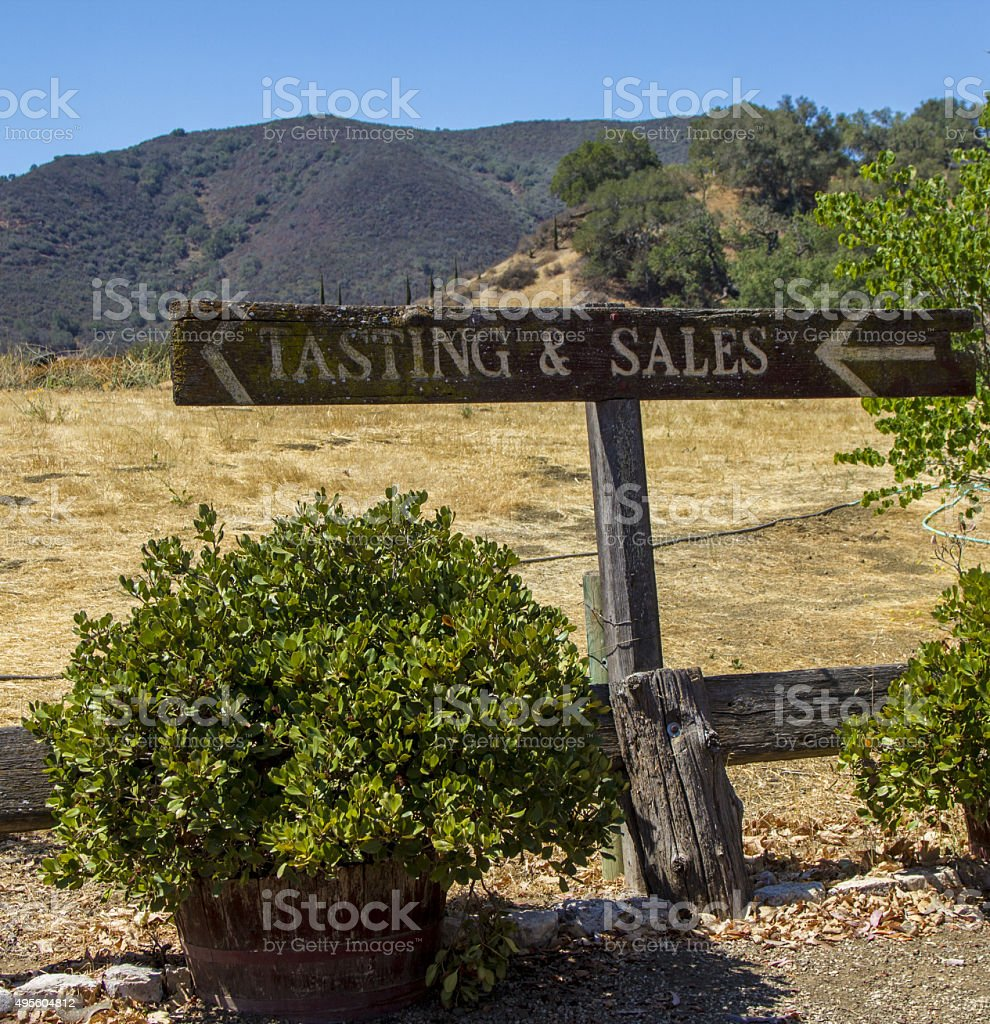 Tasting and Sales Wooden Sign stock photo