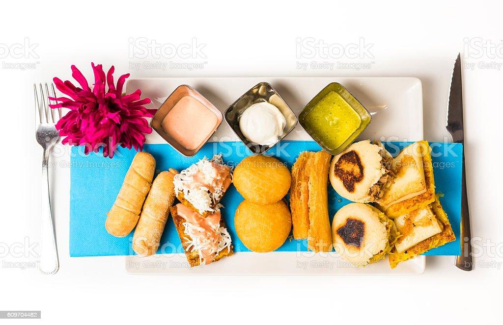 Tasting dish with venezuelan typical food stock photo