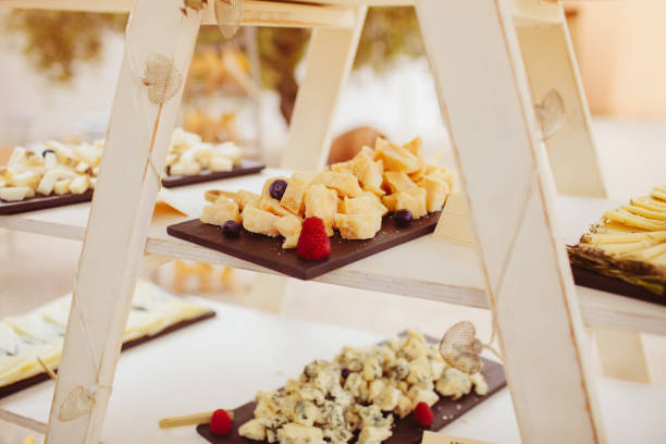 Tasting of various types of cheese during an event cocktail